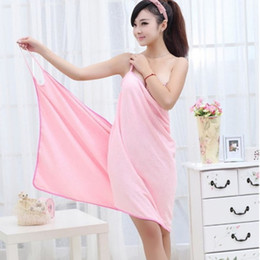 Wholesale Towel Dresses Beach - Wearable Absorbent Bath Towel Fast Dry Magic Women Beach Spa Bathrobes Bath Skirt Lady Wearable Drying Girl Dress Spa Sexy Microfiber
