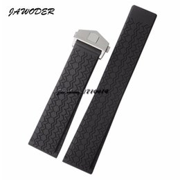 Wholesale Dive Watch Men Rubber Band - JAWODER Watchband 22mm Men Women Stainless Steel Silver Deployment Buckle Black Diving Silicone Rubber Watch Band Strap for T-A-G WATCH