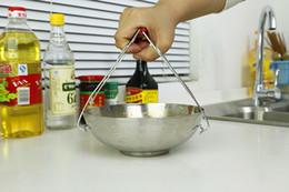 Morsetto di piatto online-1PC Longming HOme Cucina in acciaio inox Anti-Scald Clamp Clip Plate Bowl Dish Holder Carry KW 017