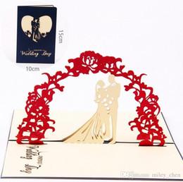 Origami dia dos Namorados Cartões de Casamento Convites 3D Pop Up Cartão Postal Para Festa de Casamento de Aniversário DHL navio livre de