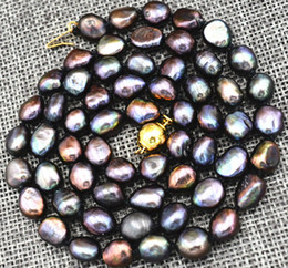 """Wholesale Rare Pearls - Rare! 7-8MM black Akoya Cultured Pearl Necklace Baroque 18"""" AAA Hand knotted"""