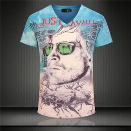 Wholesale 3d Mens Fashion Glasses - 2017 Hot Sale Fashion 3D Glasses Printed T Shirt Mens 2017 New Arrival V Neck Short Sleeve Clothing Wholesale Free Shipping
