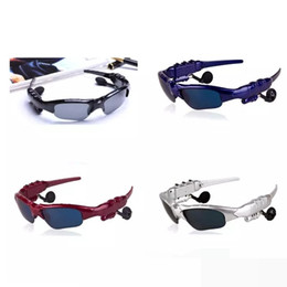 Gafas de sol para auriculares online-2017 gafas de sol BTglasses con Bluetooth Auriculares Deportes inalámbricos Auriculares Sunglass Auriculares manos libres 4 colores DHL libre