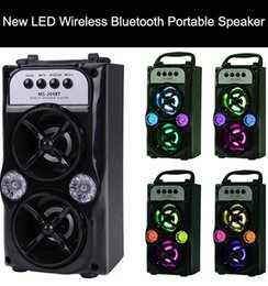 mp3 player tf card Promo Codes - LED Wireless Bluetooth Portable Speaker with USB TF AUX FM Radio MS-204BT Outdoor Super Bass ( Black )