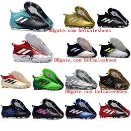 Wholesale Mens High Lace Boots - ACE 17+ Purecontrol FG Football Soccer Boots No Lace Mens Soccer Cleats High Ankle Top Soccer Shoes New Botas de Futbol 2017 Chuteira