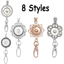 Wholesale Rhinestone Id Badge Holders - Silver Rose Gold Color Rhinestone Round Flower Pattern Snap Jewelry Lanyard Keychain for ID Badge Holder Fit Snap Button Jewelry N170S