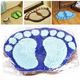 2019 плюшевые коврики Wholesale- Bath Mats Anti-slip Water Absorbent Bathroom Plush Door Carpet Bedroom Rug Blue Waste-absorbing Feet Mat 60X40CM скидка плюшевые коврики