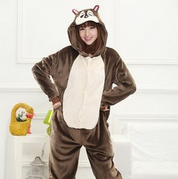 Wholesale Xxl Pajamas Men - Squirrel Pajamas Adults Women Jumpsuit Pyjamas Animal Kigurumi Squirrel Cosplay Costume Carnival Party Couple Sleepsuit unisex