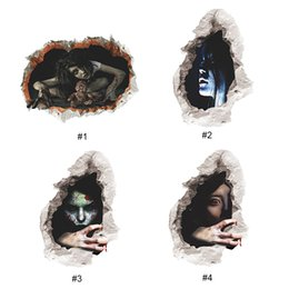 Wholesale Wall Stickers Tile - 3D Halloween Wall Stickers Ghost Poster Home Decorative Waterproof Festival & Party Horror Stickers For Halloween Party Decor 0706027