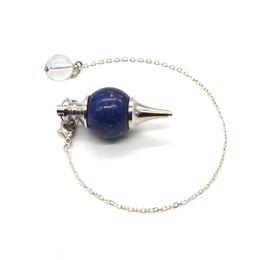 Lapis lazuli gem on-line-2018 Cura Artesanal de Cristal lapis lazuli Natural Pendulum Colar Dowsing Amuleto Gem Pedra Pingente Colares de Presente