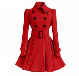 Wholesale Coat Winter Dress For Women - Winter Belt Buckle Mid-Long Trench Coat Double-breasted Coat Long Sleeve Casual Dresses Long Trench Coat for Women mujer clothing