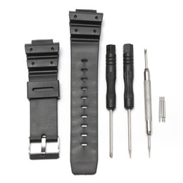 Wholesale Sports Needle - Rubber Watch Bands Strap Sport Waterproof 25mm Men Silicone Bracelet With Silver Steel Metal Needle Buckle For Casio Accessories