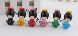 Wholesale oriental dolls - lot of 10 Set   60 pcs Japanese Oriental Kokeshi 4cm doll mobile phone strap Charm