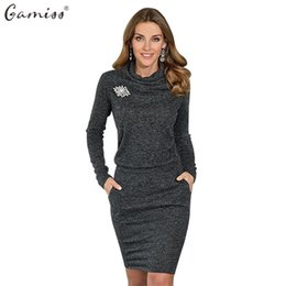 Wholesale Mini Dresses Office - Gamiss Women Autumn Winter Dress Long Sleeve Bodycon Vintage Tunic Office Sweater Dresses Vestidos OL Casual Dark Gray Dresses