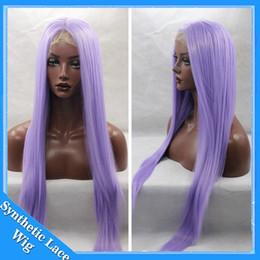 Wholesale heat resistant synthetic wigs - Long Purple Wig Cosplay Manga Gin Tama-Sarutobi Ayame Straight Pure color Synthetic Heat resistant Light Purple Lace Front Synthetic wigs