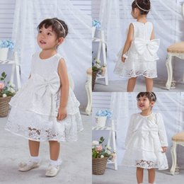Wholesale Cute Jackets Free Shipping - Cute Flower Girls Dresses For Wedding With Jacket Free Shipping Lace Applique Sash Kids Gowns Custom Made A Line Communion Dress