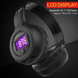 Wholesale Headset Radio For Iphone - B570 Stereo Wireless Bluetooth Headphone HiFi Headset With Microphone LCD Screen FM Radio Micro-SD Slot