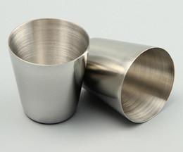 Freies verschiffen gläser porzellan online-DHL Freies Verschiffen 100 teile / los 30 ml Portable Edelstahl Schnapsgläser Barware Bier Wein Trinkglas Außen Tasse