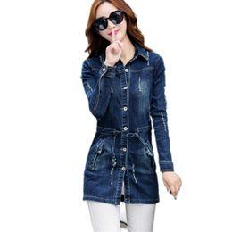 Wholesale Womens Bomber Jacket Xl - jean jacket womens 2017 Long jacket new spring autumn female casual chaqueta mujer tops hood plus size woman coat bomber jacket