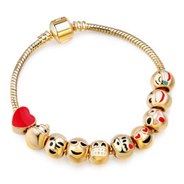 Wholesale Red Slap Bracelets - European Style Custom slap Emoji Charm Bracelet 10 Beads 18k Gold Plated Beads fit Bracelet for Women DIY Gold Bracelet Christmas Gift AA119