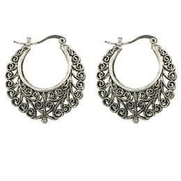 Wholesale Flower Shaped Hoop Earrings - Vintage Silver Style Metal Flower Shape Hoop Earrings