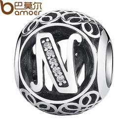 """Wholesale N 925 - Wholesale- BAMOER 925 Sterling Silver Letter Collocation Bead """"N"""" Alphabet Bead Charms fit DIY Bracelets & Bangles DIY Jewelry PSC008-N"""