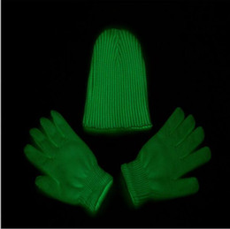 Wholesale White Dancing Gloves - Fluorescent Gloves Hat Glowing In The Dark Magic Gloves (Green Color) Christmas Dancing Club Party Props YYA623