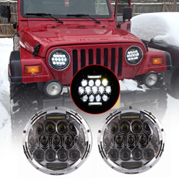 "Wholesale H1 75w - 2x 7"" 75W LED Headlights bulb for Jeep Wrangler JK CJ LJ Hummer H1 H2 LED Projector Driving Lamps DRL"