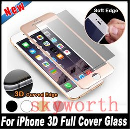Wholesale Iphone Front Glass Colors - 3D curved Carbon Fiber Glossy Tempered Glass For iPhone X 8 7 PLUS 6 plus Full Cover Glass 9H 5 colors