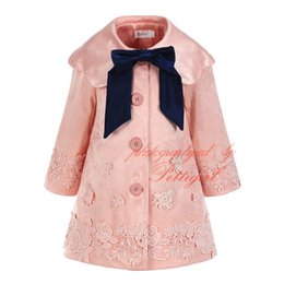 Wholesale Winter Stylish Baby Girl - Pettigirl New Spring Girls Pink Outwear With Bow Stylish Kids Flowers Coats Wholesale Baby Warm Clothes OC81127-284F