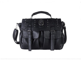 Wholesale Handbag Punk - women Bags Punk Skull Rivet Handbags Women's Handbags Cross Body Shoulder Bags Tote Messenger Women's Purse sac