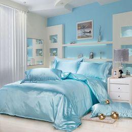 Wholesale Imitation Silk Bedding Set - 4PCS Luxurious Silk Bedding Sets Blue Black White Imitation Silk Bedding Set Bed Linen Bedclothes Bedspread Bed Sheet Duvet Sets