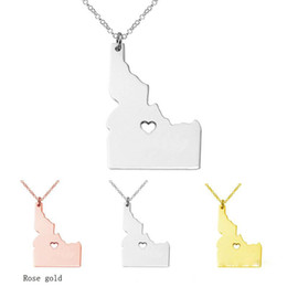 Wholesale Mexico Gifts - 3 color Idaho New Mexico State Spain Italy Portugal Germany map Necklace charm pendant Necklaces With A Heart statement Necklace jewelry