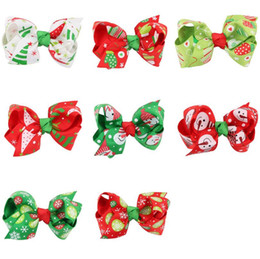 Wholesale Leather Supplies China - Free shipping Children Christmas Hairpin Christmas Ornaments Halloween Supplies Colorful Ribbon Hairpin FJ100 mix order 60 pieces a lot