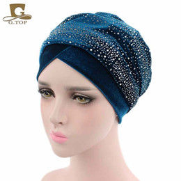 Wholesale Dots Beanie Hat - New Luxury Women Velvet Turban Headband Diamante Studded Extra Long Velvet Turban Head Wraps Hijab Head Scarf Turbante