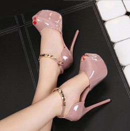Wholesale Pumps High Shoes 34 - Fashion Ladies High Heels Red Bottom Patent PU Leather Peep Toe Ankle Strap Wedding Shoes Size 34 to 39