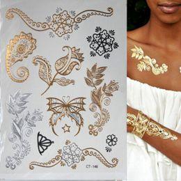 Wholesale Tatoo Foot - Hot Flash Metallic Waterproof Temporary Tattoo Gold Silver Tatoo Women Henna Flower Taty Design Tattoo Sticker