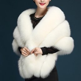 Wholesale Sexy Faux Fur Coat - 2017 New Arrival Sexy Faux Fur Coat Bridal Wraps Warm Wedding Shawl Jackets Bolero For Wedding Dresses Wedding Jackets Ivory Black Burgundy