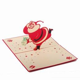 Tarjetas postales de regalo al por mayor 3D Tarjeta de felicitación de Navidad feliz Tarjetas de felicitación hechas a mano de papel de Santa Claus Design Fashion Cut desde fabricantes
