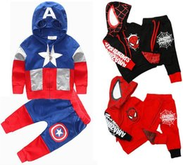Wholesale Children Clothes Spiderman Boys Clothes Sets Captain America pattern Clothing Hoodies Pants Pieces Child Autumn Spring Clothing