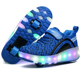 Wholesale Automatic Light Switching - 2017 New Children LED Light Roller Skate Shoes Boys Girl Automatic LED Switch Adult Flashing Fashion Walking Shoes Kids Sneakers With Wheels