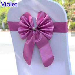 Caixilhos de cadeira violeta on-line-Violeta cadeira de cor faixa de borboleta estilo bow tie stretch faixa faixa de lycra spandex tampa da cadeira para casamentos atacado