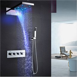 """Wholesale valve hand - 22"""" LED Thermostatic Shower Set Rain And Waterfall Shower Head Water Saving Hand Shower Valve Waterfall SPA Bath Faucets"""