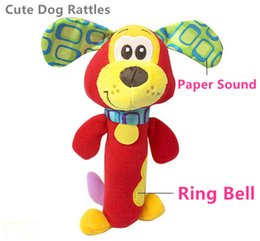 Wholesale Dog Ring Toy - Wholesale- HOT 21cm Baby Rattles Mobiles Red Dog Cute ring bell Infant Baby Crib Stroller Toy 0+ months Plush Dog kids Bed Soft Play Doll