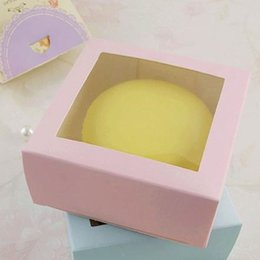 Wholesale Packaging Supplies Cookie Box - Square Pure Pink & Blue Cookie Box with Window Single Baking Cheese Cake Gift Boxes DIY Soap Package ZA4954