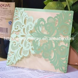 Wholesale Green Invitation Cards - Wholesale- wholesale and retail laser cut mint green wedding invitation card lace , wedding invitations arabic