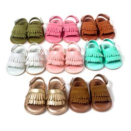 Wholesale Toddler Boys Leather White Sandals - HOT Summer Baby Pu Leather Sandals Moccasins Tassel Girls Boy First Walker Quality Baby Sandals Soft Sole Toddler Shoes JC170