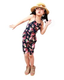 Wholesale Girls Summer One Piece Playsuit - Wholesale- 2-8YSummer Style Toddler Girls Clothing Kids Summer Soft Jumpsuit Playsuit Clothing One-piece