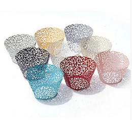 Wholesale Paper Hot Cups - 1000pcs lot, Hot Sanwony Little Vine Lace Laser Cut Cupcake Wrapper Liner Baking Cup Hollow Paper Cake Cup DIY Baking Fondant Cupcake