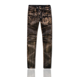 Wholesale Cool Designer Jeans - 2017 hot sell Men's Distressed Ripped Jeans Famous Fashion Cool Designer Slim Motorcycle Biker Causal Denim Pants Runway Jeans